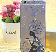 Sexy Girls Pattern TPU Relief Thin Transparent  All Inclusive Back Cover Case for iPhone 6