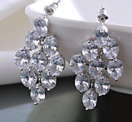 Women Drop Dangle Earrings 10KT White Gold Filled Zircon Earring For Lady's Gift High Quality