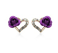 Heart Purple Rose Stud Earrings 18K Rose Gold Plated Jewelry with Austrian Crystal