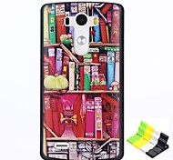Bookcase Pattern PC Hard Case and Phone Holder for LG G3