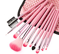 10pcs верхнего проверка степени косметические кисти набор розовый