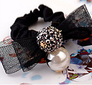 Fashion Rhinestone Pearl Bow Lace Hair Ties