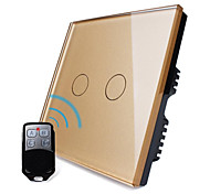 Livolo UK Standard Luxury Golden Crystal Glass Panel,2 Gang 1 Way, Home Light Remote Touch Switch