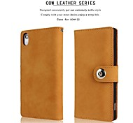Genuine Matte Cowhide PU Leather Flip Cover Wallet Card Slot Case for SONY Z2