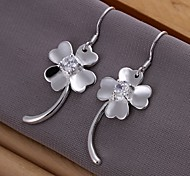 European Diamond Clover 925 Silver Drop Earrings(2Pc)