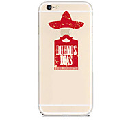 Red character Pattern Transparent Back Case for iPhone 6 Plus