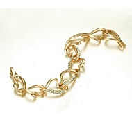 Lovely Heart-link Bracelet 18K Yellow Gold Plated Use SWA Elements Crystal Cute Heart-link Bracelet