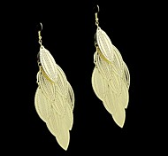 New Coming Simple Style Gold And Silver Long Leaf Shape Earrings