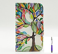 The Tree of Life Pattern PU Leather Case Cover with A Touch Pen ,Stand and Card Holder for iPhone 4/4S