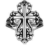 Knuckle Biker Ring For Man Silver Plated Jewelry Gift Stainless Steel Finger Bands Retro Cross Ring US Size 7 8 9