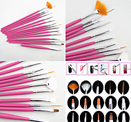 15PCS Pink  Nail Art Design Painting Drawing Pen Brush Set Wood Handle Acrylic Brush