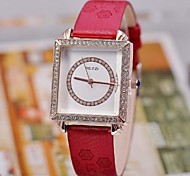 Women's Diamond Square  Leather Watch  High Quality Japanese Watch Movement(Assorted Colors)