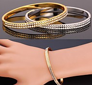 U7® Simple Style Cool Bracelet 18K Real Gold Platinum Plated Rhinestone Bangle Fashion Jewelry for Women High Quality