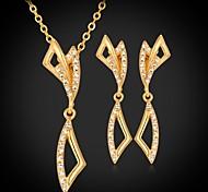 u7® aretes de fantasía collar colgante plateado oro verdadero 18k diamante artificial de la boda de la joyería de las mujeres de la alta calidad