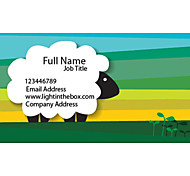 Business Cards 200pcs Green White Sheep Pattern 2 Sided Printing of Fine Art Filmed Paper