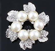 CZ Crystal Pearls Brooch For Women