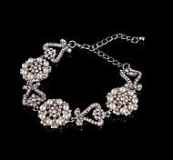 Vintage Luxurious Heart Diamond Pearl Flower Silver Bracelet For Women Lades Bridal Birthday GIft Party Wedding