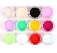 12pcs gemischte Farben Nail Art Acrylfarben Pulver Nagel Bildhauerei Carving uv Malerei Staub für Salonnageldekorationen