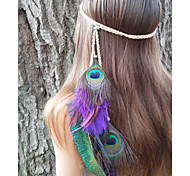 Feather Headband, Native American, Braided Headband, Indian Headband, Peacock Headdress, Feather Hairband
