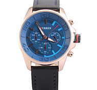 Man's Quartz Wrist Watch Round Dial Fashion PU Leather Strap (Assorted Colors)