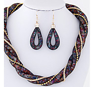 European Style Fashion Trend Wild Shine Simple Metal Necklace&Earring Sets