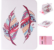 Colored Feather Patterns PU Leather Full Body Case with Stand and Card Slot for Samsung Galaxy Tab4 10.1 T530
