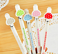Mushroom Pattern Black Ink Gel Pen(Random Colors 1PCS)