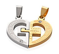 New Fashion Stainless Steel The Arrow Of Cupid Heart Pendants Lovers Pendants 1 Set black silver gold 3 colors