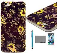 coco fun® fiore giallo di viti modello tpu caso della copertura posteriore con la protezione dello schermo e lo stilo per iPhone 6 più