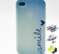 Smile Pattern with Stylus ,Anti-Dust Plug and Stand TPU Soft Case for iPhone 4/4S