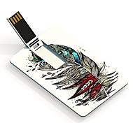 16gb unidad flash usb tarjeta de diseño colorido de plumas