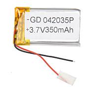 3.7v 350mah batería de polímero de litio para teléfonos móviles mp3 mp4 (4 * 20 * 35)