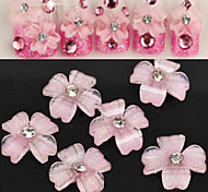 10 Pcs Translucent Shiny Pink Flowers Manicure Resin Nail Jewelry