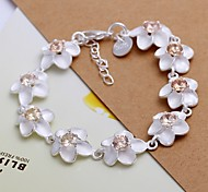 Fashion Diamond Zircon Flower Shape  925 Silver Charm Bracelets  1pc