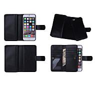 correa de muñeca billetera color sólido de cuero genuina casos de cuerpo completo con ranuras 9 de tarjeta para 6s iphone (colores