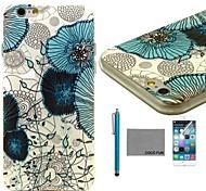 coco fun® fiore blu di viti modello tpu caso della copertura posteriore con la protezione dello schermo e lo stilo per iPhone 6 più