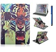 9,7 inch 360 graden rotatie tijger patroon met stand case en pen voor ipad lucht 2 / ipad 6