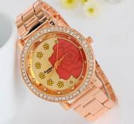 style de mode de fleurs analogique charme de quartz rose des femmes montre-bracelet