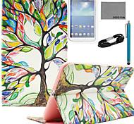 Для Бумажник для карт / Кошелек / со стендом / Флип / С узором Кейс для Чехол Кейс для дерево Твердый Искусственная кожа Samsung Tab S 8.4