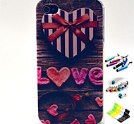 LOVE Pattern with Stylus ,Anti-Dust Plug and Stand TPU Soft Case for iPhone 4/4S