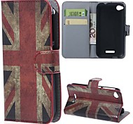 Vintage UK Flag PU Leather Case with Stand and Card Slots for HTC Desire 320