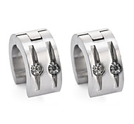 Fashion Men Women Punk Stainless Steel Metal Hoop Earrings Stud Earrings 18K Gold/Silver Platinum Plated With Crystal