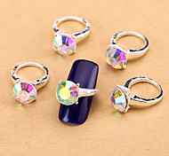 New 10PCS AB Nail Art Jewelry Pinkie Nail Rings Alloy Rhinestone Aryclic Nail Tips Decorations