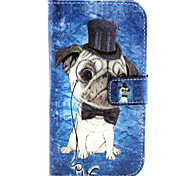 Dog Pattern PU Leather Case with Magnetic Snap and Card Slot for Alcatel One Touch Pop C7
