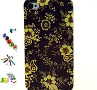 Yellow Flower Pattern TPU Material  with Stylus Anti-Dust Plug and Stand Portfolio for iPhone 4/4S