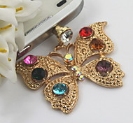 Fashion Alloy With Multicolor Crystal Butterfly Pendant Dust Plug General Type