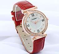 relógio de couro strass banda de pulso de quartzo analógico das mulheres SINOBI (cores sortidas)
