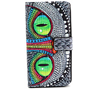 Owl Eye Pattern PU Leather Case with Magnetic Snap and Card Slot for Wiko Rainbow