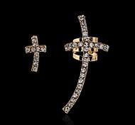Golden Cross Earrings(1 pair)(Gold,Silver)