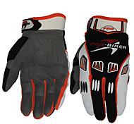 Motorrad-Handschuhe Vollfinger Stoff/Weicheres Leder M/L/XL Weiß/Schwarz/Blau/Orange